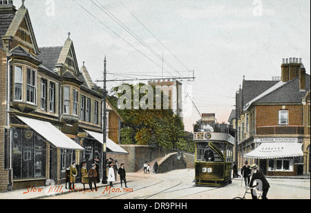 A tram on Stow Hill, Newport, Monmouthshire - Stock Photo