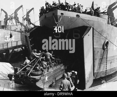 D-Day - Emabarkation for US assault troops - Stock Photo