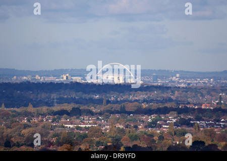 Wembley Stadium in London, with its distinctive arch, home of football in England, seen from Epsom Downs, 15 miles, 24km,  away.