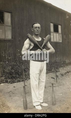 Russian Prisoner - Juggler - German Camp, WWI - Stock Photo