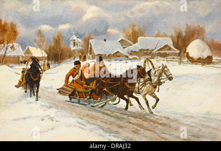 Horse-drawn sleds in Russia - Stock Photo