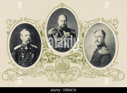 Alexander II, Alexander III and Nicholas I of Russia - Stock Photo