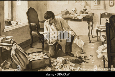 Russian man destroying papers - Stock Photo