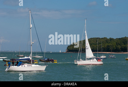 Sailing on the Solent off Cowes on the Isle of Wight. - Stock Photo