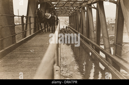 Manchester Ship Canal - The Barton Swing Aqueduct - Stock Photo