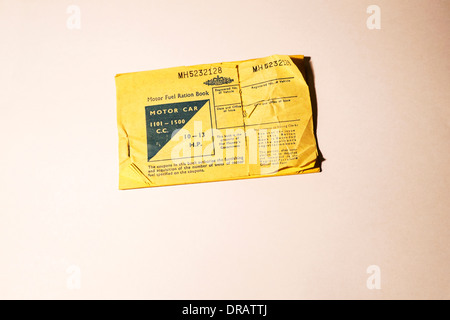 British Motor Fuel Ration Book for Motor Car 1101 - 1500 cc  10 - 13 H.P. 1960s - Stock Photo