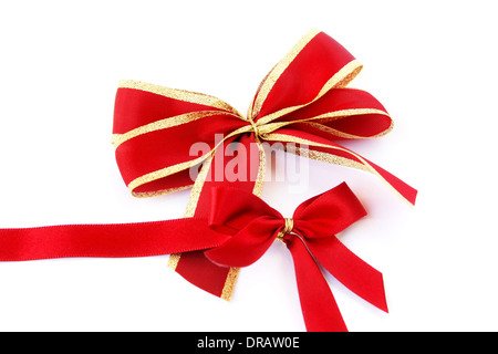 Red ribbons isolated on white background. - Stock Photo