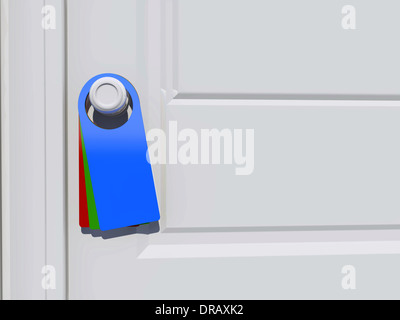 3d Blank tag on the door handle - Stock Photo