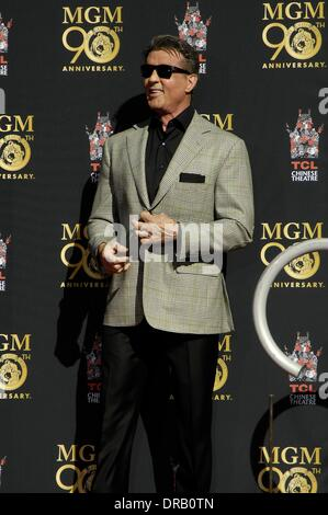 Los Angeles, CA, USA. 22nd Jan, 2014. Sylvester Stallone at the induction ceremony for MGM's Leo The Lion Celebrates - Stock Photo