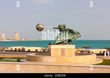 Sculpture in Front of the Amphitheater, Katara Cultural Village, Doha, Qatar - Stock Photo