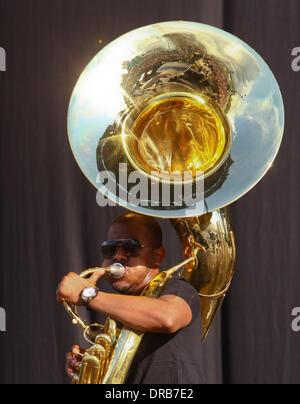 Damon 'Tuba Gooding Jr.' Bryson of The Roots Barclaycard Wireless Festival 2012 - Day 1 London, England - 06.07.12 - Stock Photo