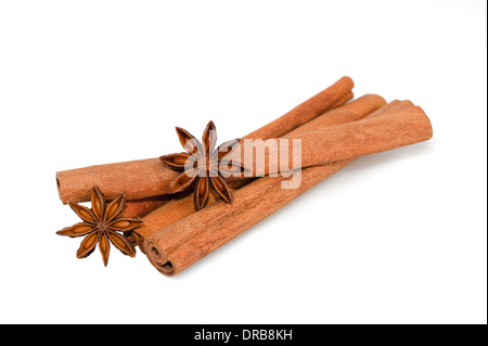 Star anise and cinnamon isolated - Stock Photo