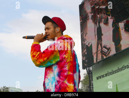 Harley 'Sylvester' Alexander-Sule of Rizzle Kicks Barclaycard Wireless Festival 2012 - Day 3  London, England - - Stock Photo