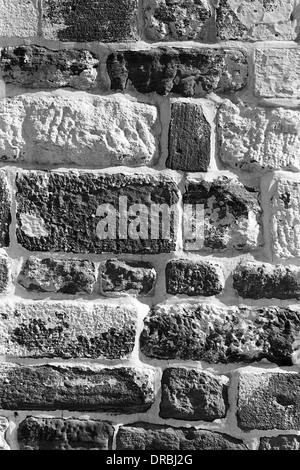 Stone bricks wall of Mahendragarh Fort, Bikaner, Rajasthan, India, 1984 - Stock Photo