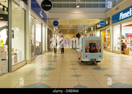 Interior walkway between shops at the Livingston Designer shopping mall, near Edinburgh, Scotland, Great Britain, - Stock Photo