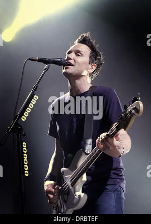 Mark Hoppus of Blink 182 performing live at the Liverpool Echo Arena. Liverpool, England - 12.07.12 - Stock Photo