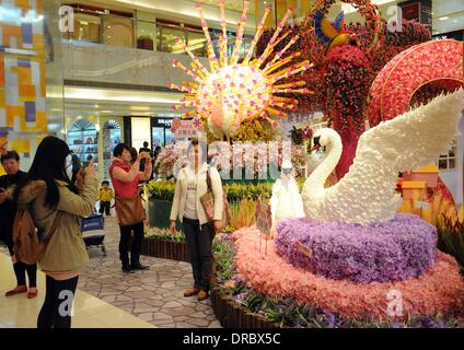 Hong Kong, China. 23rd Jan, 2014. A woman poses for photos in front of New Year decorations at a shopping mall in - Stock Photo