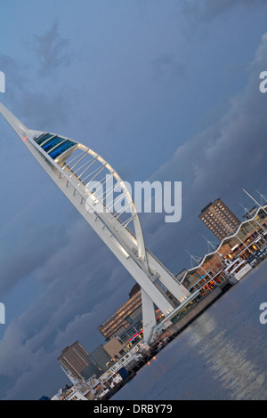Portsmouth Spinnaker Tower and Gunwharf Quays - Portsmouth skyline at dusk in January at Portsmouth, Hampshire UK - Stock Photo