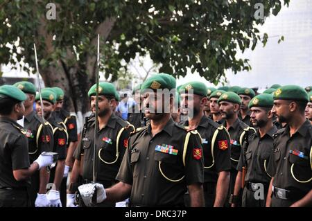 Mumbai, India. 23rd Jan, 2014. Indian soldiers rehearse for the Republic Day 2014 celebrations in Mumbai, India, - Stock Photo