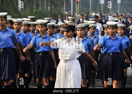 Mumbai, India. 23rd Jan, 2014. Members of Indian Scouts rehearse for the Republic Day 2014 celebrations in Mumbai, - Stock Photo