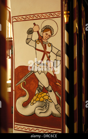 St Fagans, Saint George and Dragon Mural at St Tielo's Church - Stock Photo