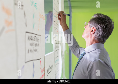 Businessman writing flower chart on office wall - Stock Photo