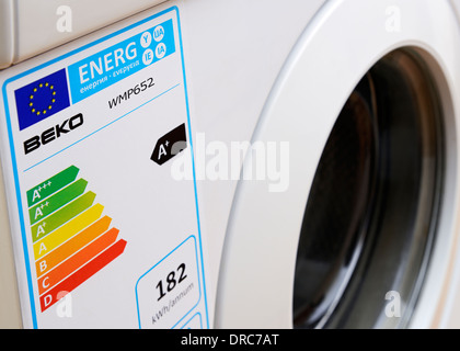European Union Energy Consumption Label on a Washing Machine. - Stock Photo