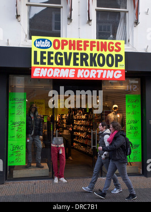Clothing shop clearance sale in the city center of Utrecht, the Netherlands - Stock Photo