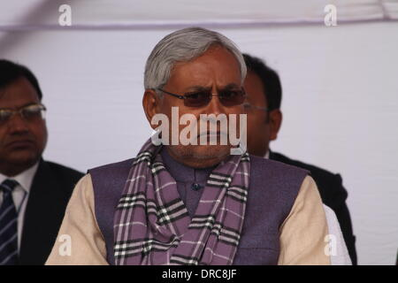 South Gandhi Maidan, Patna, Bihar, India, 23rd January 2014. Shri Nitish Kumar attends the 115th birth anniversary - Stock Photo