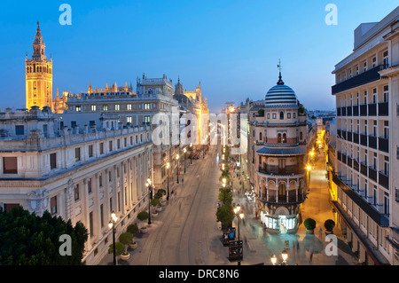 Constitution avenue and Giralda tower, Seville, Region of Andalusia, Spain, Europe, - Stock Photo