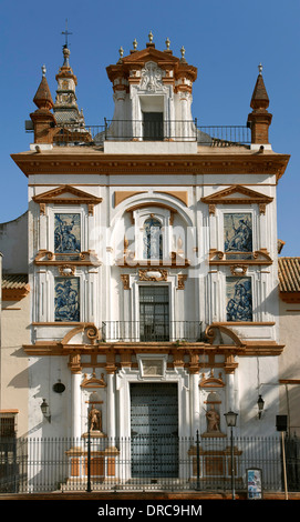 Hospital de la Santa Caridad, Façade of the church, Seville, Region of Andalusia, Spain, Europe - Stock Photo