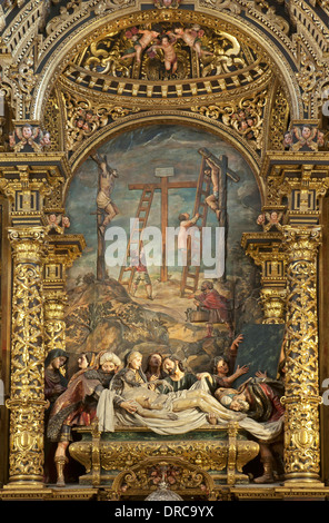 Hospital de la Santa Caridad, Altar, The Burial of Christ by Pedro Roldan, Seville, Region of Andalusia, Spain, - Stock Photo