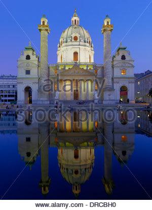 the church of saint charles borromaeus at karlsplatz square at night, vienna city, austria, europe - Stock Photo