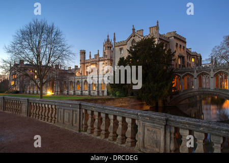 Neptune Bridge & the Bridge of Sighs Johns College Cambridge University UK - Stock Photo