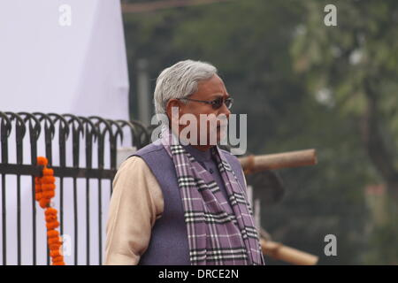 South Gandhi Maidan, Patna, Bihar, India, 23rd January 2014. Shri Nitish Kumar, Chief Minister of Bihar attends - Stock Photo