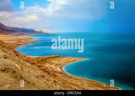 Dead Sea in Israel during storm - Stock Photo