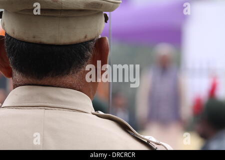 South Gandhi Maidan, Patna, Bihar, India, 23rd January 2014. Commander of Bihar Military Police parade contingent - Stock Photo