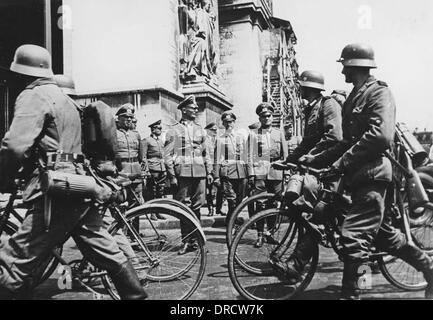 German bicycle troops WWII - Stock Photo