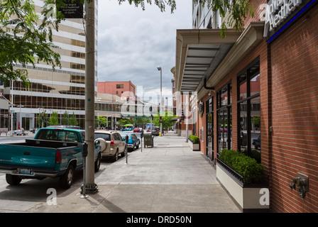 Riverside Avenue in downtown Spokane, Washington , USA - Stock Photo