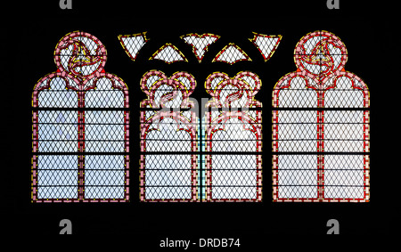 Stained glass windows with decorative patterns in five colors - Stock Photo