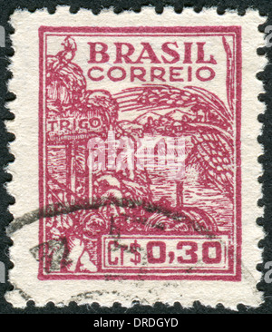 BRAZIL - CIRCA 1947: Postage stamp printed in Brazil, dedicated to agriculture, circa 1947 - Stock Photo