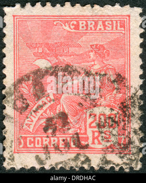 BRAZIL - CIRCA 1922: Postage stamp printed in Brazil, dedicated to air travel, circa 1922 - Stock Photo