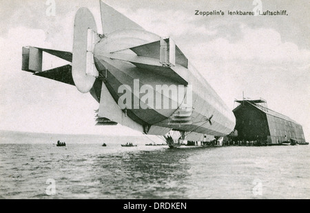 German Zeppelin airship LZ IV and floating hangar - Stock Photo