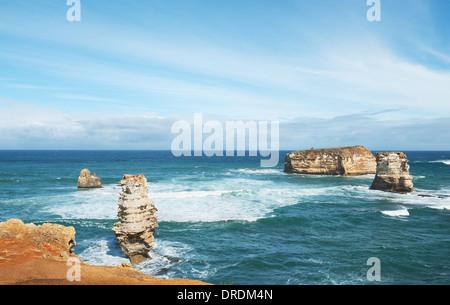 famous Rocks in the Bay of Islands Coastal Park,Great Ocean Road, Australia - Stock Photo