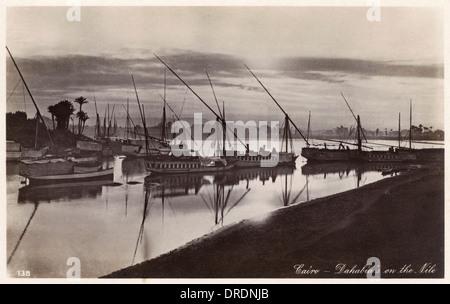 Boats on the Nile at dusk - Cairo, Egypt - Stock Photo