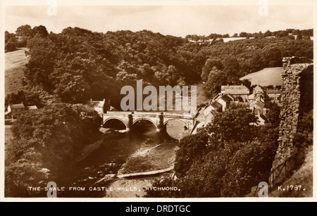 Richmond - The Swale from the Castle Walls - Stock Photo