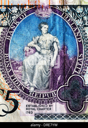 Hibernia seated from 5 Pounds banknote, Northern Ireland, 2008 - Stock Photo