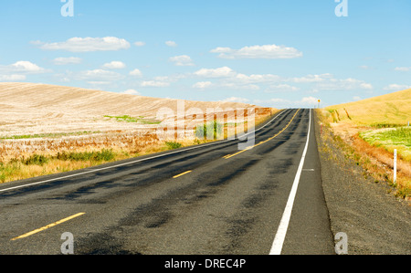 Country road in the Palouse Hills of Whitman County, Washington State, USA. - Stock Photo
