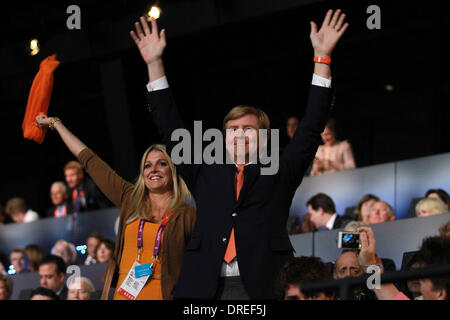 Princess Maxima of the Netherlands and Crown Prince Willem Alexander,  during the opening ceremony of the London - Stock Photo