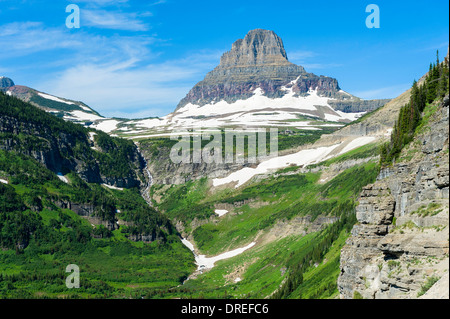 View of Clements Mountain from 'Going-to-the-Sun' Road (built 1921-1932), Glacier National Park, Montana, USA. - Stock Photo